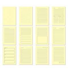 set of blank notebook page template vector image