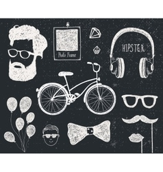 set of vintage styled design hipster stuff vector image vector image