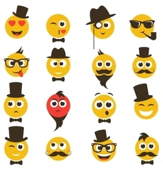 smiley faces in retro style vector image vector image