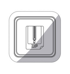 sticker monochrome silhouette square button with vector image vector image