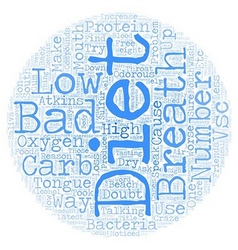 The cause of bad breath on low carb diets text vector