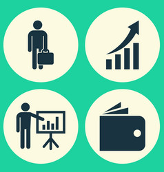 Trade icons set collection of presenting man vector