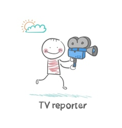 Tv reporter says to the camera runs vector