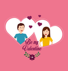 Valentine day couple love hearts flower romantic vector
