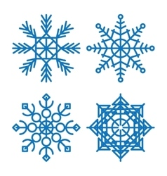 Various winter snowflakes set vector
