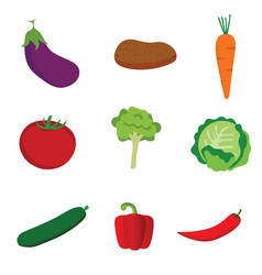 vegetable set icon in color vector image