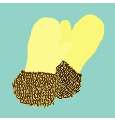 warm knitted mittens trimmed with fur vector image
