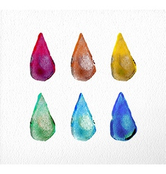 Watercolor drop set hand drawn vector image