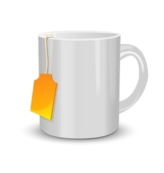 White cup of tea with label vector image vector image