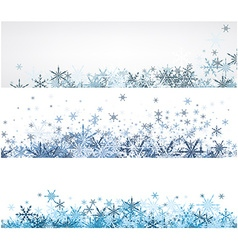 Winter banners set with blue snowflakes vector