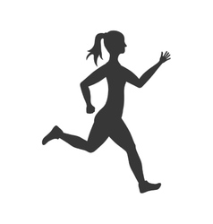 Sport woman running fitness icon graphic vector