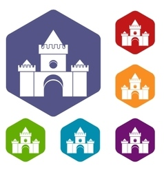 Fairytale castle icons set vector