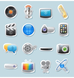 Sticker icons for media vector image