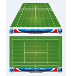 Empty tennis court with set of infographic element vector