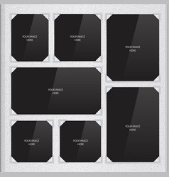 Page of photo album with photo frames and corner vector