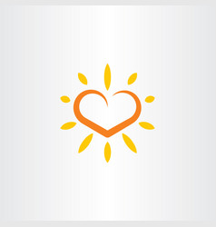 heart sun logo icon element vector image