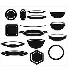 Icon of plates of different shapes vector