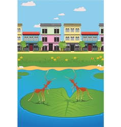 Waterfront village vector