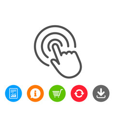 Hand click line icon finger touch sign vector