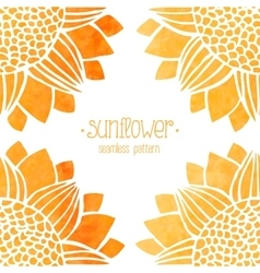 Seamless pattern with watercolor sunflowers vector