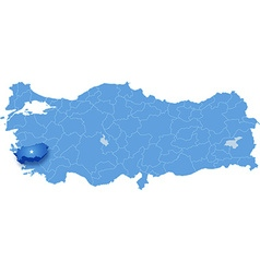 Map of turkey aydin vector