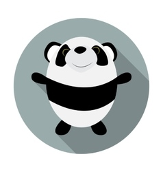 Cute little panda flat icon vector