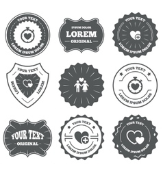 Valentine day icons love heart timer sign vector