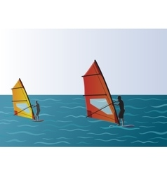 Windsurfing in the sea vector