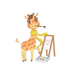 Giraffe in scarf painting vector