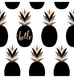 Black pineapples pattern vector