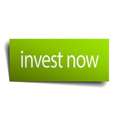 Invest now green paper sign isolated on white vector