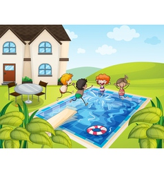 a house and kids vector image