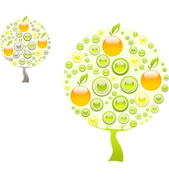 Apple tree with green and yellow gems vector image vector image