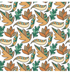 autumn doodle leaves pattern seamless coloring vector image