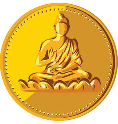 Buddha gold coin medallion retro vector
