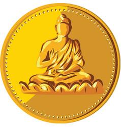 Buddha Gold Coin Medallion Retro vector image