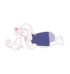 cat using nose kiss with girl i love you in cat vector image