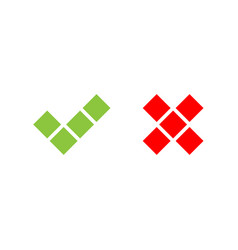 Check mark icons of squares green tick and red vector