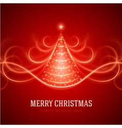Christmas tree from light lines vector image