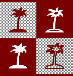 Coconut palm tree sign bordo and white vector