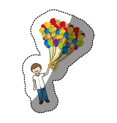 Color happy boy with balloons in the hand vector