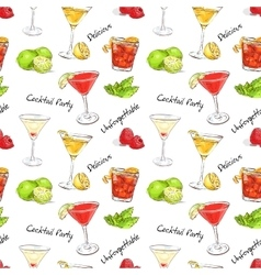 color pattern unforgettables cocktails vector image vector image