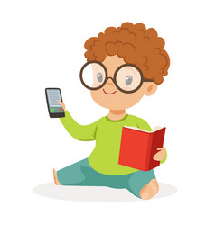 cute little boy wearing glasses sitting on the vector image vector image