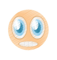 drawing scared emoticon image vector image