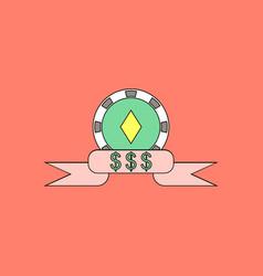 Flat icon design collection casino chip dollar vector