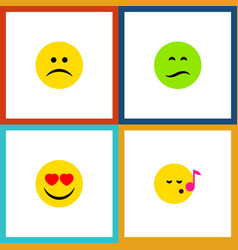 Flat icon emoji set of descant love frown and vector