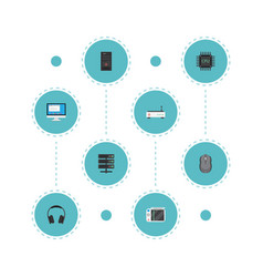 Flat icons datacenter computer mouse router and vector