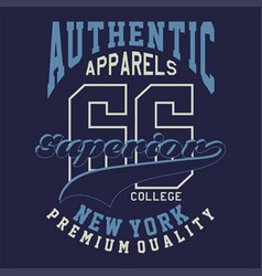 graphic authentic apparels superior vector image vector image