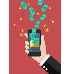 Hand holding smartphone with banknotes fly into vector