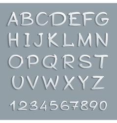Handwritten alphabet with shadows and numbers vector image